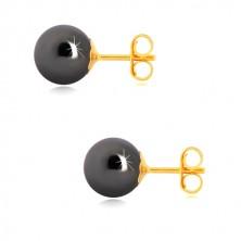 14K zlatne naušnice - hematit loptice sivo-crne boje, metalni sjaj