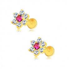 Naušnice od 585 žutog zlata - cirkonski cvijet, sredina boje rubina, vijak