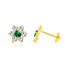 585 zlatne naušnice - cirkonski cvijet, smaragdno zelena sredina, vijak