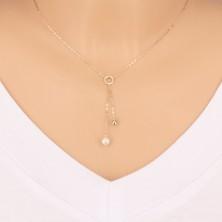 9K zlatna ogrlica - krug, sjajna loptica i biser na lančiću