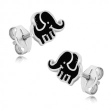 925 srebrne dugme naušnice - slon sa crnom glazurom