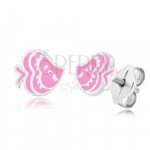 Naušnice sa životinjskim motivom - riba sa ružičastom glazurom, 925 srebro