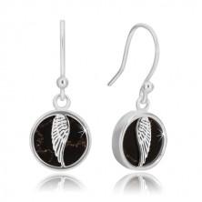 925 srebrne naušnice - krug sa krilom anđela, glazura crne boje s uzorkom mramora