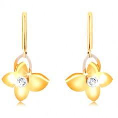 9K zlatne naušnice - uski štapić, leptir sa cirkonom, silueta krila od bijelog zlata