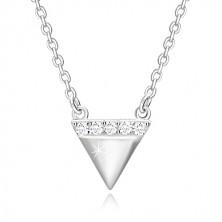 925 srebrna ogrlica - naopaki trokut, svjetlucava cirkonska linija
