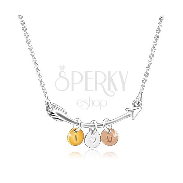 """925 srebrna ogrlica - uvijena strelica, troboni krugovi """"I HEART YOU"""""""