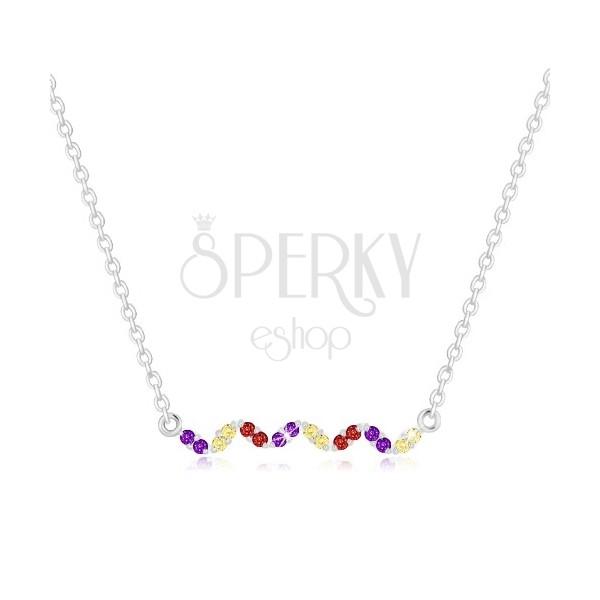 925 srebrna ogrlica - val sa cirkonima u boji, lančić sa ovalnim karikama