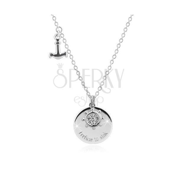 """925 srebrna ogrlica - sidro, brodsko kormilo, sjajni krug sa natpisom """"I refuse to sink"""""""