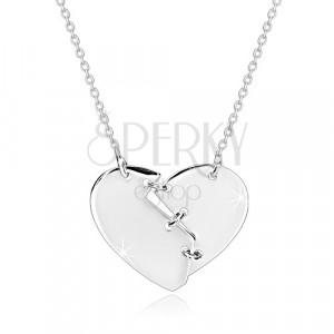 925 srebrna ogrlica - slomljeno srce spojeno sa tri šava, sjajna površina