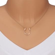 925 srebrna ogrlica ružičasto zlatne boje - sjajni luk i dvije ruke