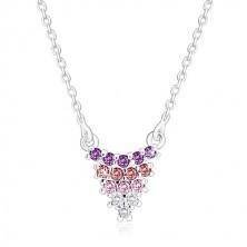 925 srebrna ogrlica - grozd na lančiću, cirkoni, promjena boje