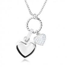 925 srebrna ogrlica - sjajni lančić sa kutnim karikama, multi privjesak, srca