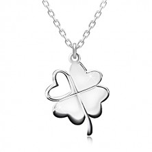 925 srebrna ogrlica - djetelina s četiri lista za sreću, usjek u obliku srca, svjetlucavi lančić
