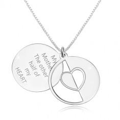 925 srebrna ogrlica - kutni lančić, plosnati krugovi, srce i natpis