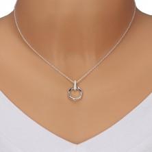 925 srebrna ogrlica - vertikalna cirkonska linija i heptagon, lančić