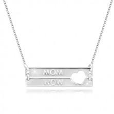 """925 srebrna ogrlica - pravokutnici sa usječenim srcem, natpis """"MOM"""""""