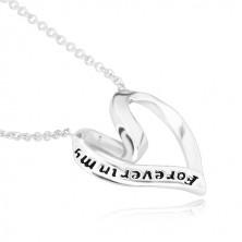 """925 srebrna ogrlica - vrpca savijena u srce, """"Forever in my heart"""""""