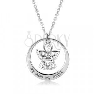 925 srebrna ogrlica - silueta kruga, anđeo sa ornamentima, natpis