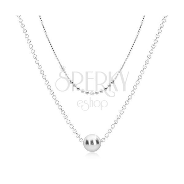 925 srebrna ogrlica - dvostruki lančić, male loptice i veća loptica
