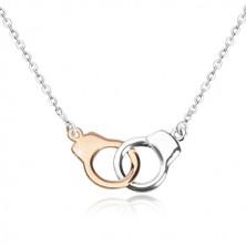 925 srebrna ogrlica - lisice u kombinaciji dvije boje, svjetlucavi lančić