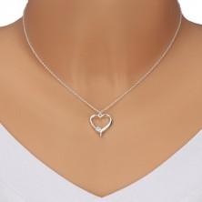 925 srebrna ogrlica - silueta simetričnog srca, svjetlucavi prozirni cirkoni