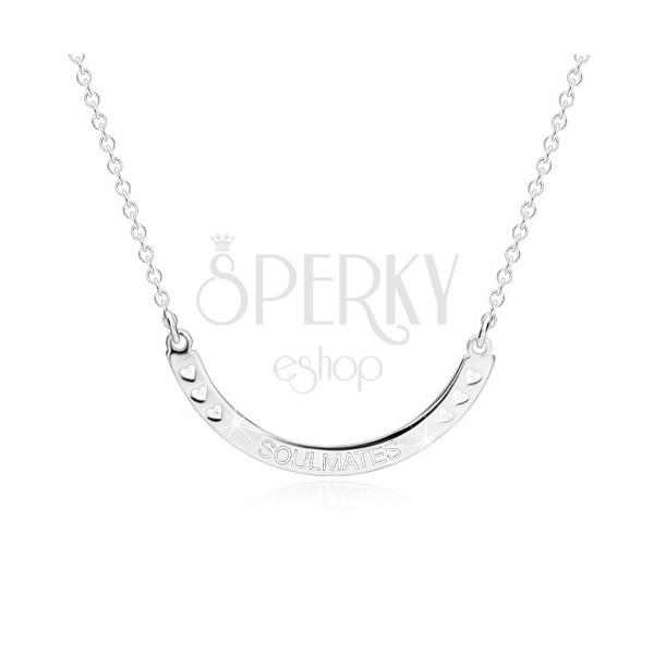 """925 srebrna ogrlica - sjajni luk sa natpisom """"SOULMATES"""" i srcima"""