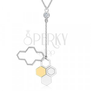 925 srebrna ogrlica - plastični pčelinji okviri, prozirni cirkon, svjetlucavi lančić