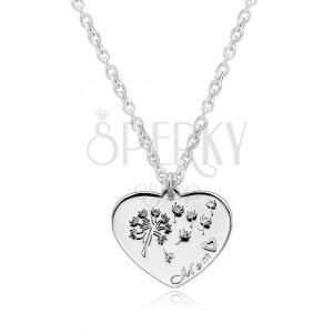 """925 srebrna ogrlica - simetrično srce, maslačak, natpis """"Mom"""""""