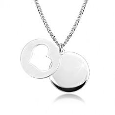 925 srebrna ogrlica - sjajni krug, mat krug sa usjekom u obliku srca