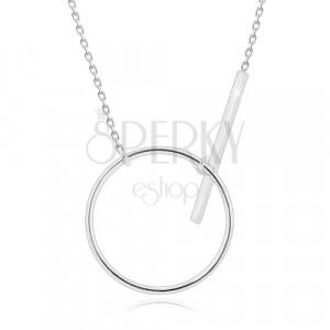 925 srebrna ogrlica - svjetlucavi lančić, sjajna silueta kruga i štapić