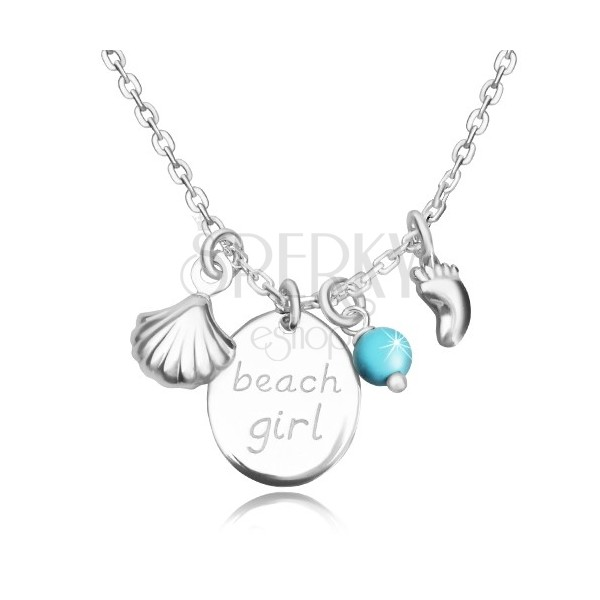"925 srebrna ogrlica - oval sa natpisom ""beach girl"", otisak stopala, morska školjka i loptica"
