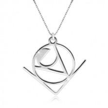 """925 srebrna ogrlica - riječ """"Love"""" sa apstraktnim geometrijskim motivom"""