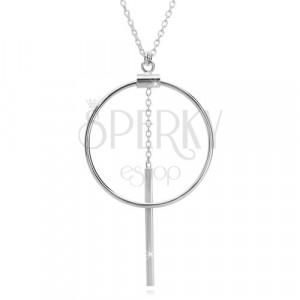 925 srebrna grlica - lančić od ovalnih karika, silueta kruga i šapić na lančiću