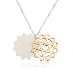 925 srebrna ogrlica - sjajno čakra srce zlatne boje, mat cvijet lotusa