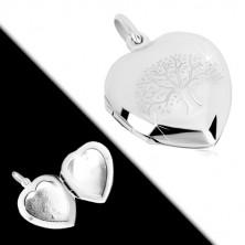 925 srebrni medaljon - simetrično srce sa finom gravurom, drvo života