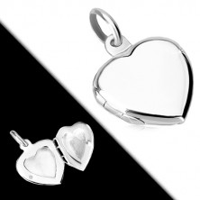 925 srebrni privjesak - plosnati medaljon, simetrično srce sjajne površine
