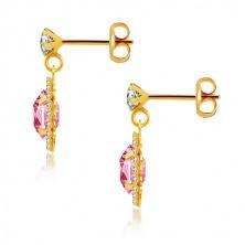 Naušnice od 375 žutog zlata - prozirni cirkon, ružičasti cirkon u prozirnom okviru