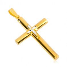 925 srebrni privjesak - križ zlatne boje, manji križ u sredini, usjeci u obliku zrna