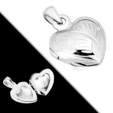 925 srebrni privjesak - medaljon, simetrično srce sa dekorativnim usjecima