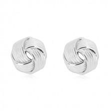 925 srebrne naušnice - sjajni veliki čvor sa uskim linijama, dugmad