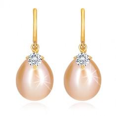 Dijamantne naušnice od14K žutog zlata - sjajni luk, ovalni biser i brilijant