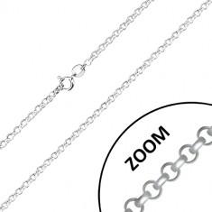 925 srebrni lančić - šire okrugle karike, sjajna površina, 2,6 mm