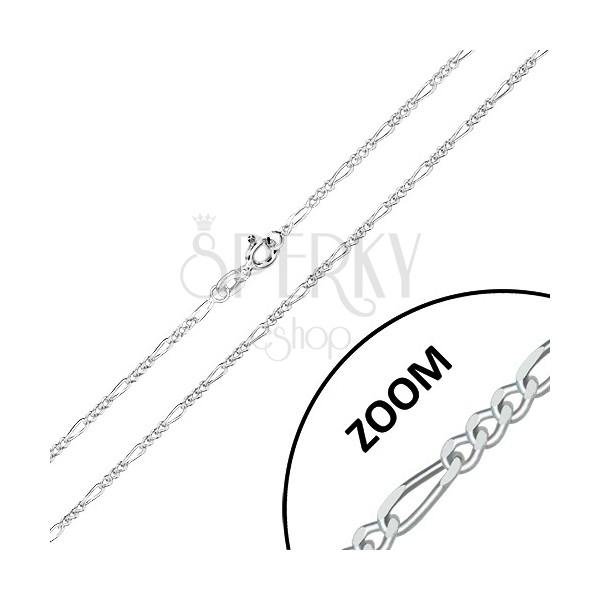 925 srebrni lančić - Figaro dizajn, brušeni svjetlucavi rubovi, 1,6 mm