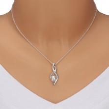 925 srebrna ogrlica - broj osam, valovite vrpce sa biserom, lančić