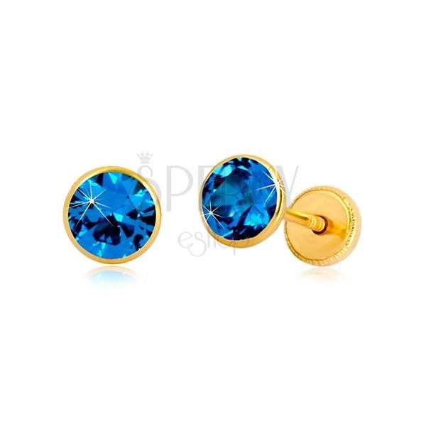 Naušnice od 14K žutog zlata - plavi cirkon u postolju, dugmad sa vijkom, 5 mm