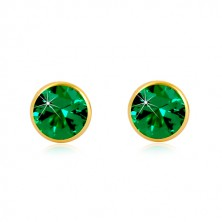 14K zlatne naušnice - smaragdno zeleni cirkon u posotlju, dugmad sa vijkom, 5 mm