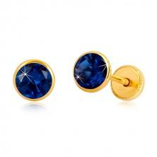 Naušnice od 585 žutog zlata - safirno plavi cirkon u posotlju, dugmad sa vijkom, 5 mm