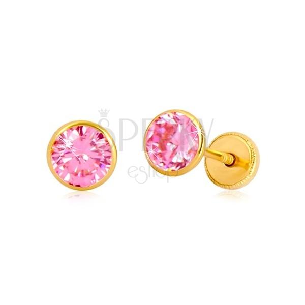 Naušnice od 14K žutog zlata - ružičasti cirkon u postolju, dugmad sa vijkom, 5 mm