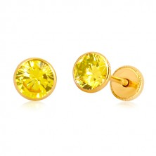 Naušnice od 14K žutog zlata - žuti cirkon u postolju, dugmad sa vijkom, 5 mm