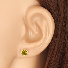 585 zlatne naušnice - okrugli cirkon zelene boje, dugmad sa vijkom, 5 mm